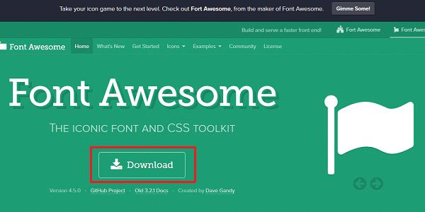 Font Awesomeからファイルをダウンロード