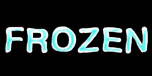 氷のような文字の完成