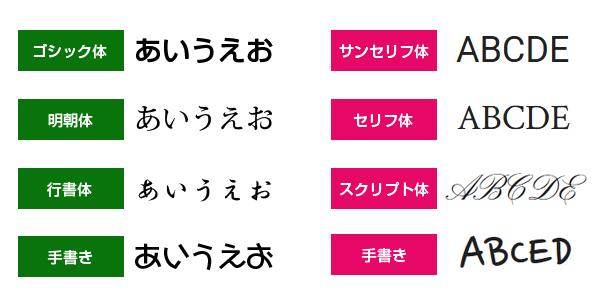 フォント書体サンプル