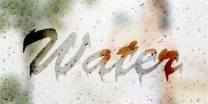 曇りガラスに書いた文字の完成