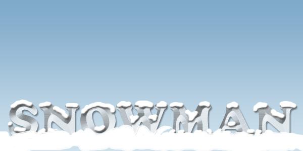 文字の下に雪を敷く
