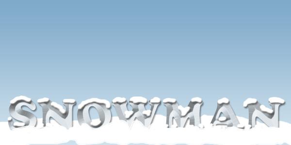 文字の奥側に雪を敷く