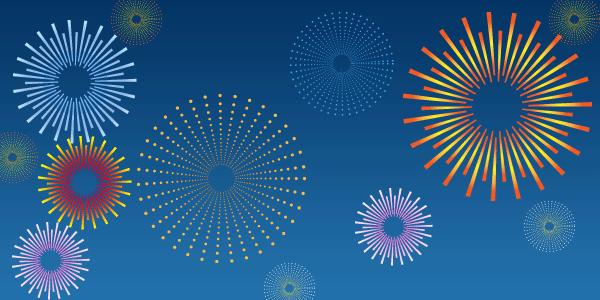 イラストレーターで作成した夜空を彩る花火